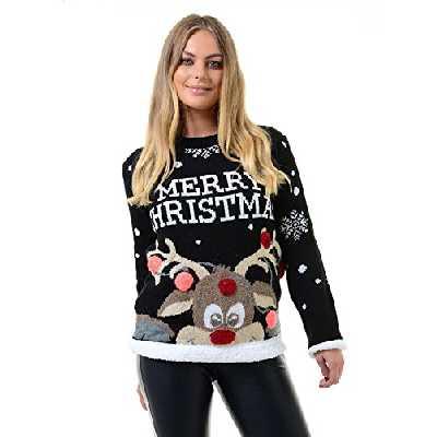 Womens Ladies Xmas Reindeer Merry Christmas Novelty 3D Bubbles Jumper Sweater 8-22