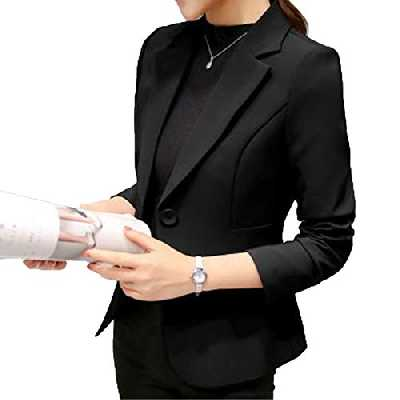 Elonglin Blazer Femme Veste de Tailleur Mache Longue Classique Design Coupe ajustée pour Silhouette élancée Quotidien Travail Noir Taille FR L (Asie XXL)