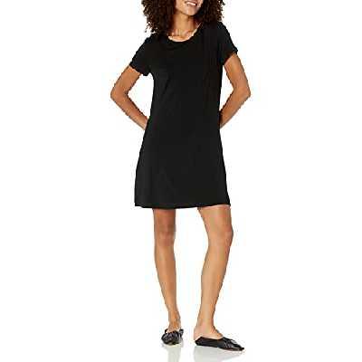 Amazon Essentials – Robe trapèze à manches courtes et col rond pour femme, Noir, US S (EU S - M)