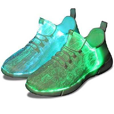 Shinmax Chaussures Fibres Optiques, LED Chaussures à 7 Couleurs 4 Mods USB Rechargeable Allume Chaussures Sneaker Super léger à LED pour Hommes et Femmes,Blanc,44 EU