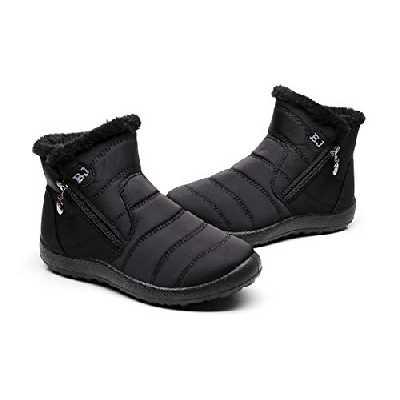 Bottes Courtes Femmes,Popoti Bottes de Neige Unisexes Bottines de Cheville Doublées D 'Hiver Chaudes Plates Antidérapantes Boots Chaussures Outdoor (Noir, 39 EU)