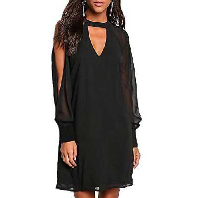 YOINS Femmes Robe Mousseline Épaules Dénudées Sexy Élégante Dress Manches Longues T-Shirt Robe Patineuse Col V, C-noir, M