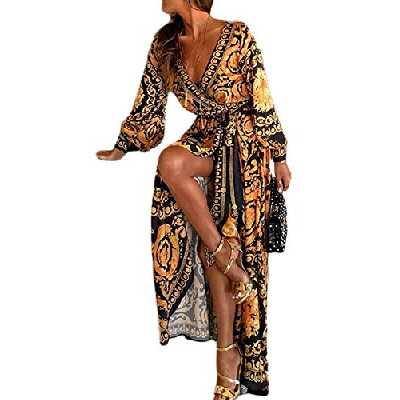 Sevozimda Femmes Cocktail Robes Bohème À Manches Longues Floral Automne Parti Maxi Robe Jaune XL