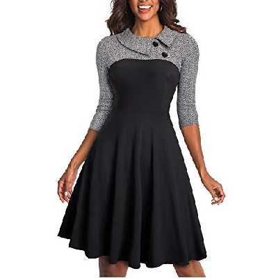 HOMEYEE Robe d'affaires à Revers Vintage Colorblock pour Femme A121 (EU 40 = Size L, Gris Tissu B)