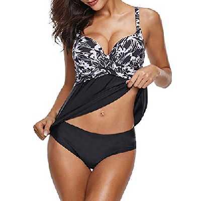 Leslady Maillots de Bain Femme Tankini Jupette Imprimé Push-up Rembourré Grande Taille Beachwear Bicolore(L, Fleur Noir)