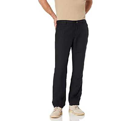 Amazon Essentials Slim-Fit Flat-Front Linen Pant Pantalon décontracté, Noir, Medium-32 Inseam