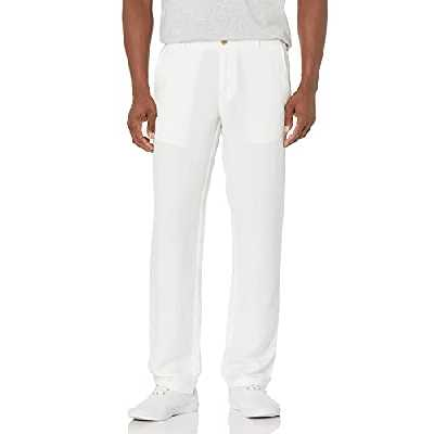 Amazon Essentials Slim-Fit Flat-Front Linen Pant Pantalon décontracté, Blanc, XX-Large-32 Inseam