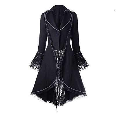 Chejarity Lingerie Veste De Smoking Femme à Manches Longues Et à La Taille Manteaux Robe Vintage Col V Gothique Blouson Robe Overcoat Outerwear (L, Noir)