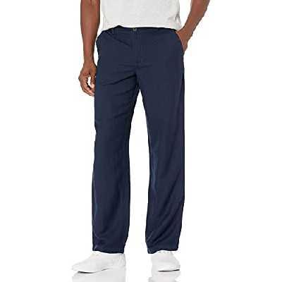 Amazon Essentials Classic-Fit Flat-Front Linen Pant Pantalon décontracté, Bleu Marine, Medium-32 Inseam