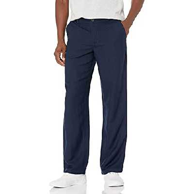 Amazon Essentials Classic-Fit Flat-Front Linen Pant Pantalon décontracté, Bleu Marine, Medium-32 Inseam