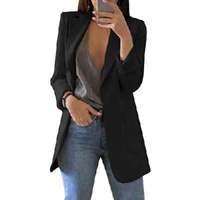 Minetom Femme Blazer Élégant Manches Longues Slim Fit OL Bureau Affaires Veste De Costume Devant Ouvert Manteau Cardigan Blouson Jacket A Noir FR 42