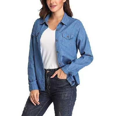 Dilgul Blouse Femme Chemise en Jean Manche Longue Chic Denim Chemisier Shirt Basique Bleu Large