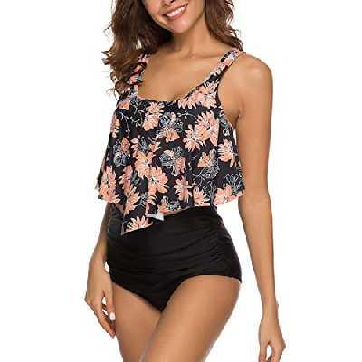 Vertvie Femme 2 Pièces Plage Bikini Set à Volants Maillot de Bain Beachwear Push Up T-Shirt Débardeur Court Rembourré Tanga Culotte Taille Haute?S?Noir?