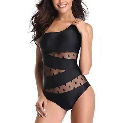 Achruor Maillot de Bain 1 Pièce Femme Léopard Imprimé Elégant Amincissante Slim Grande Taille Bikini Transparent(2XL,Noir)
