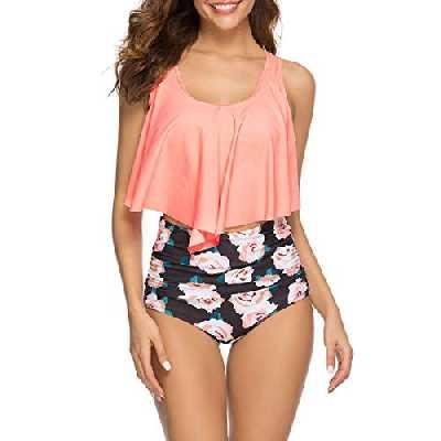 WinCret Maillot de Bain 2 Pieces Femme Plage Bikini Set - Push up Maillots À Volants avec Taille Haute Mince,Orange,XXL=EU(42-44)
