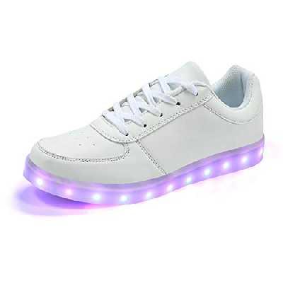 PADGENE Chaussures de Sport Montantes Basket Mode à LED Clignotantes Rechargeables par USB (39 EU, Blanc)