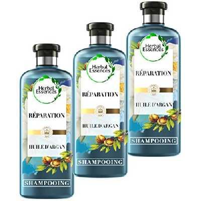 Herbal Essences, Shampoings Réparation à l'Huile d'Argan du Maroc, 90% d'ingrédients d'origine naturelle, Lot de 3x250ml