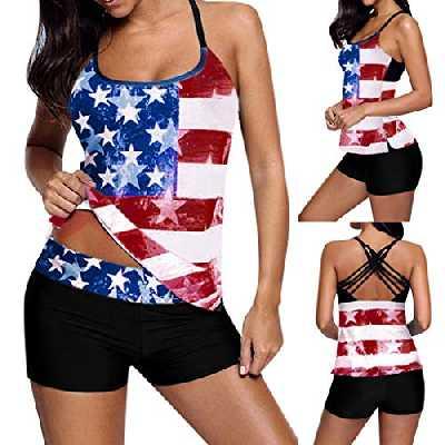 Tankini Femme Short Maillot de Bain 2 Pieces Grande Taille Bas Bikini Plage Ete Bonjouree