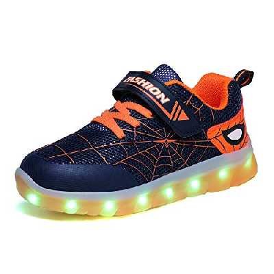 Kauson Mixte Enfants LED Chaussures de Sport 7 Changement de Couleur Chaussure de Mutilsport USB Rechargeable LED Lumineuse Baskets Mode Respirante Running Sneakers pour Garçons et Filles Cadeau