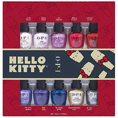 OPI Nail Lacquer Vernis Gel Hello Kitty Holiday Minis 10 Pièce Kit