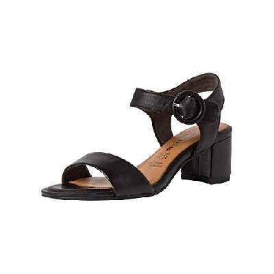 Tamaris Femme Sandales 28324-24, Dame Sandale à lanières,Chaussures d',Sandales d',Confortables,Black Leather,39 EU / 5.5 UK