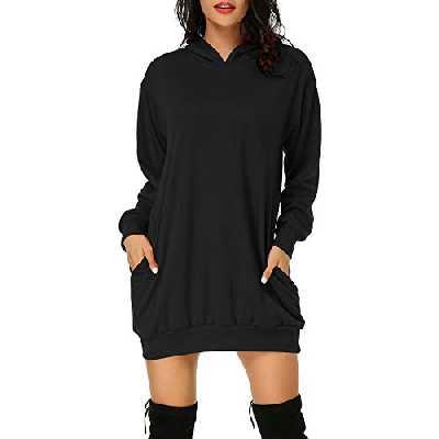 Auxo Femme Sweat à Capuche Longue Hoodie Casual Manches Longues Pull Chic Ample Haut Automne Hiver Sweat-Shirt, 02-noir, M