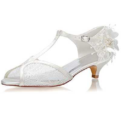 JIAJIA 01135 aux Femmes Chaussures de mariée Peep Toe Talon Bas Escarpins Satin en Dentelle Chaussures de Mariage Couleur Ivoire, Taille 37 EU
