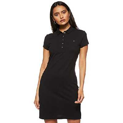 Tommy Hilfiger Slim Polo Dress Robe, Noir (Black Bds), 34 (Taille Fabricant: X-Small) Femme