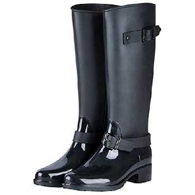 TQGOLD Bottes de Pluie Femme en Caoutchouc Talon Imperméable Zip Hautes Wellington Boots(Noir,Taille39)