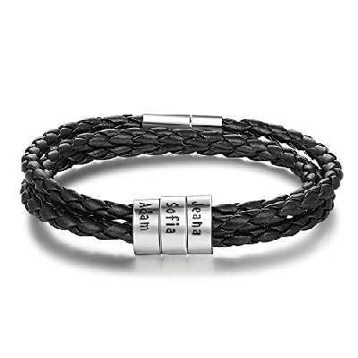 DaMei Bracelet Femme Homme Prenom Personnalisé Bracelet Cuir Gravé pour Femme avec Nom Personnalisé Cadeau Anniversaire pour Femme BFF