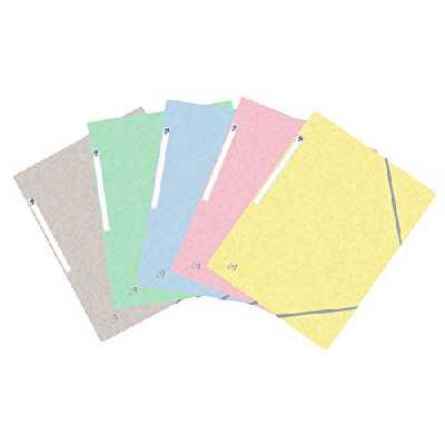 OXFORD Topfile+ Lot de 10 Chemises Cartonnées 3 Rabats Format A4 fermeture Elastiques 5 Couleurs Pastel
