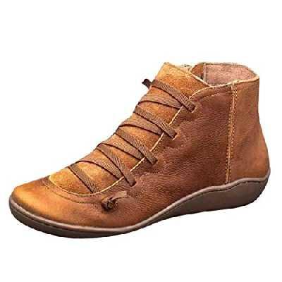 Bottines Femme Plates Cuir Vintage Mode Pas Cher Bottes à Lacets Hiver Chaud Talon Plates Fermeture à GlissièRe LatéRale Ankle Boots (39.5 EU, Marron)