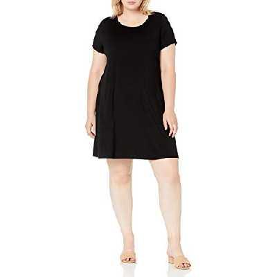 Amazon Essentials Robe à Manches Courtes et col Rond Dresses, Noir, XL Grande Taille