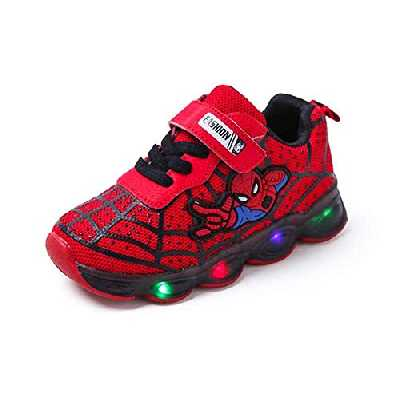 Chaussures De Sport LED Pour Enfants Unisexes Spider-Man Pour Bébé (Rojo,28EU)