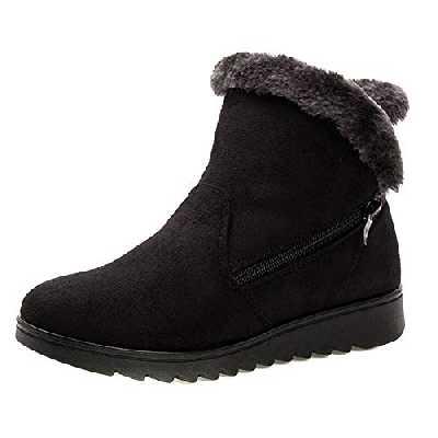 Femmes Bottes De Neige Chaud Court en Peluche d'hiver Bottines Plateforme Dames Chaussures en Daim Zip Nouveau