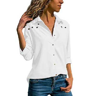 Dokotoo Chemisier Femme Blouse Manche Longue Chemise Soie Chemisier Col V Lâche T Shirt Top Blanc,M,Blanc