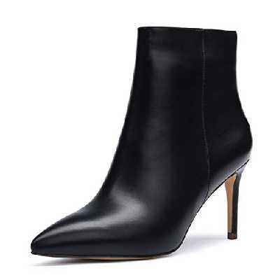 CASTAMERE Femme Fermeture Eclair Bottines Bout Pointu Aiguille Haute Talon 8CM Noir PU Chaussures EU 38