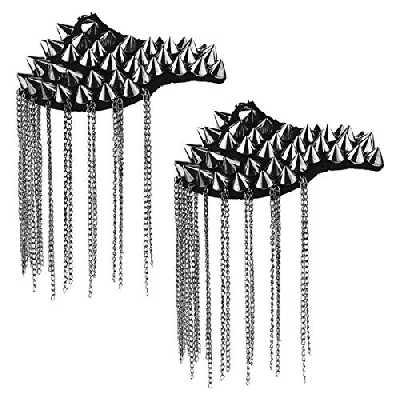 iiniim 2Pcs Épaulettes Épaule Planches Insigne Chaîne Gland Alliage Mode Vintage Épaule Broche Pin's Chemise Blouse Veste Femme Homme Accessoires Costume Cérémonie Fête Noir B Taille Unique