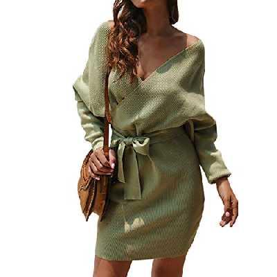 LAEMILIA Robe Pull Moulante Femme Coton Mélange Manche Longue Cache Coeur avec Ceinture Oversize Sweater Elégant Hiver (EU36 (Tour de Poitrine 78-96cm), Vert)