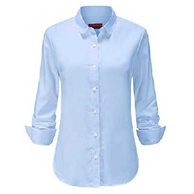 Jandukar Chemise boutonnée à Manches Longues Oxford pour Femme Chemisier Formel décontracté (X-Bleu,38)