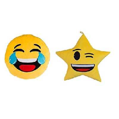 udc Innova Home - Lot de 2 Coussin Emoji - Coussin Mort de Rire 30cm - Coussin Etoile 30cm