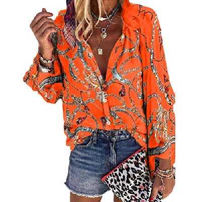ORANDESIGNE Femme Chemisier Floral Imprimer Lâche Blouse Mousseline de Soie Manches Longues Chemise Tops Printemps Eté Z2 Orange 48