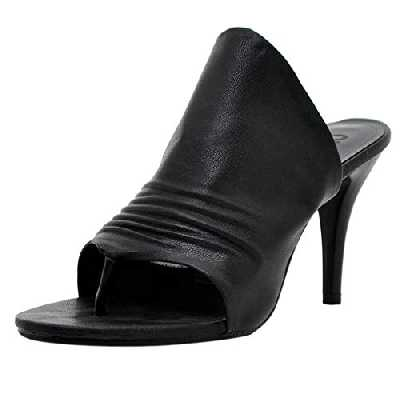LOVOUO Tongs Mules Femme Talon Aiguille Haut Sexy Stiletto Sandales Slingback Chaussures OutdoorSlippers 8CM(Noir,38)
