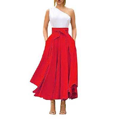 Jupe Plissée Taille Haute Maxi Jupe Longue Femme A-Ligne Elégante Irrégulière Vintage Retro Swing (Rouge, S)