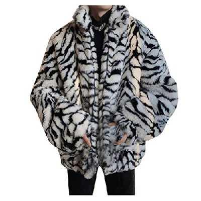 Yowablo Parka Veste Fourrure Manteau Homme Outdoor Blousons Jacke Laine Fausse Fourrure léopard Hiver Chaud Mode extérieur (L,3Blanc)