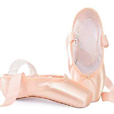Soudittur Chausson de Danse Classique Pointe Chaussures de Ballet Satin Rose avec Élastique Bande et Protège-Orteils pour Ballerines Fille Femme EU 38 (Prendre Une Taille au Dessus)