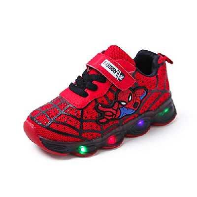 YUANY Enfants Spiderman LED Lumière Lumineuse Bande Dessinée Baskets Garçons Antidérapant Résistance À l'usure Chaussures Décontractées,Red-25 EU