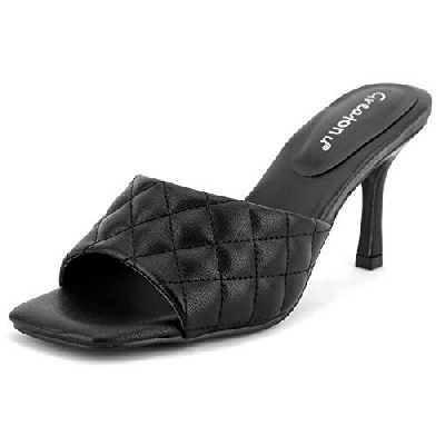Greatonu Femmes Mules à talon chaton bas NOIR BACKED Slip On Sandals Open Peep Toe Dress Escarpins TAILLE 39
