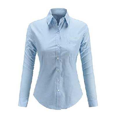 Dioufond Chemise Coton Femme Manche Longue Chemiser Oxford Femme Bleu M