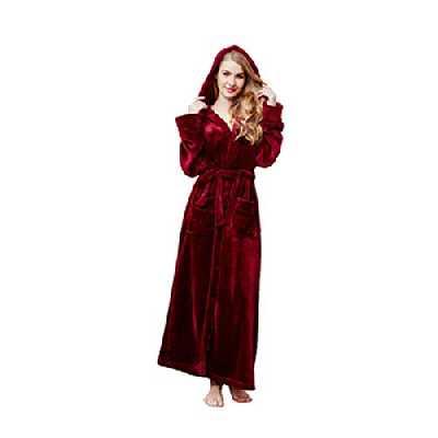 Susenstone Peignoir Femme Polaire Sexy Hiver Chaud Pyjama Flanelle Chic Robe De Chambre Longue Kimono Femme Nuit Pas Cher VêTements De Nuit (L, Vin)